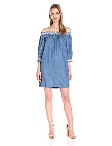 Trina Turk Women's Neville Fluid Chambray Off-Shoulder Dress