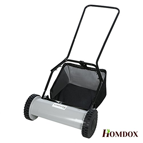 Homdox 16 Inch Push Reel Lawn Mower with Heat Treated Blades Grass Catcher