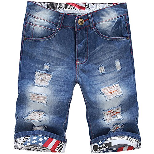 ClothingLoves Men's Denim Ripped Mid Waist Plus Size Bleached Jeans Shorts