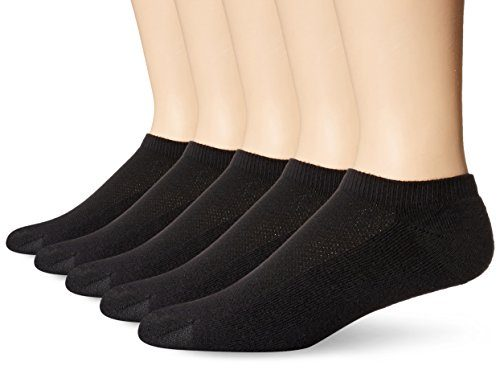 Hanes Men's 5-Pack Ultimate X-Temp No-Show Socks, Black, 10-13 (Shoe Size 6-12)