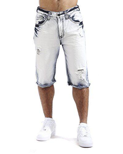 Smoke Rise Men's Raw Hem Ripped Denim Shorts