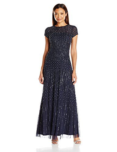 Adrianna Papell Women's Petite Fully Beaded Gown with Short Sleeves and Pearl Beading