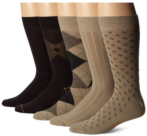 Dockers Men's 5 Pack Classics Dress Argyle Crew Socks