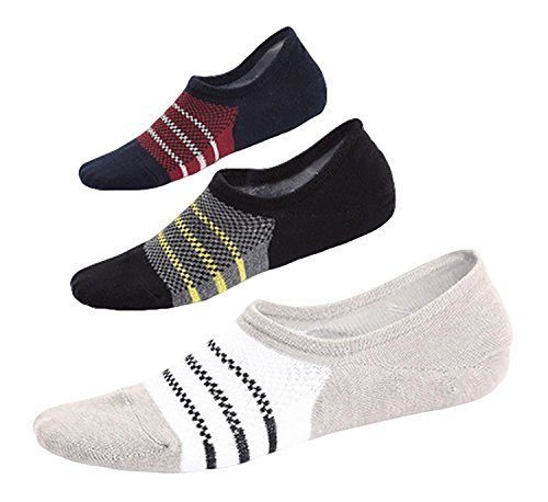 Spikerking Men No Show Cotton Deodorant Anti Off 3 Pack Crew Socks (Size:10-12)