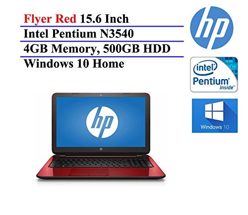 2016 HP Flyer Red 15.6 Inch Notebook Laptop (Intel Pentium Quad-Core N3540 Processor up to 2.66GHz, 4GB RAM, 500GB Hard Drive, DVD/CD Drive, HD Webcam, Windows 10 Home) (Certified Refurbished)