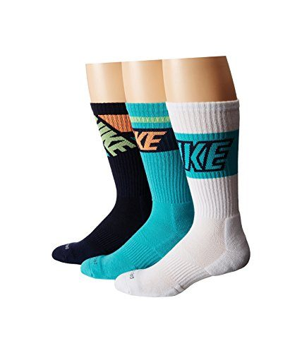 NIKE Dri-Fit Crew Sock 3-Pairs (Black/Light Retro/Obsidian/Orange)LG