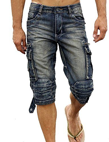 Idopy Men`s Cargo Denim Biker Jeans Shorts With Zippers
