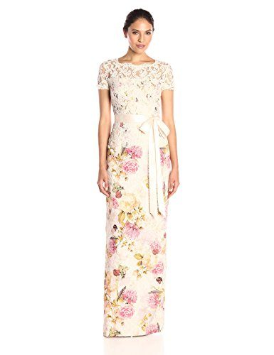 Adrianna Papell Women's Matelasse and Lace Peplum Column Gown