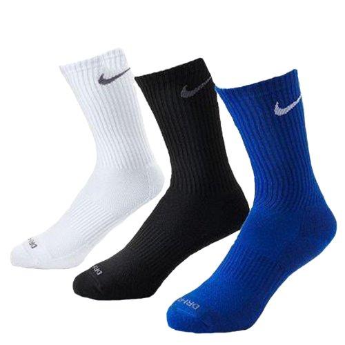 Nike Men's Dri-Fit Cushioned Crew Socks - 3 Pack (Royal/White/Black, Shoe Size: 8-12)