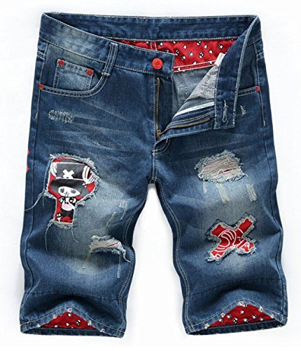 MR. R Men's Printed Ripped Slim Fit Denim Shorts