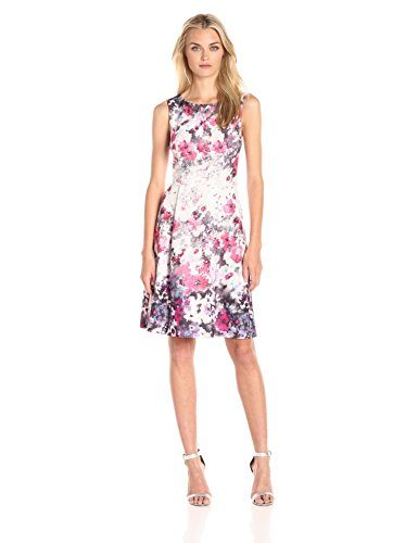 Adrianna Papell Women's Floral Print Bateau Neck Fit and Flare