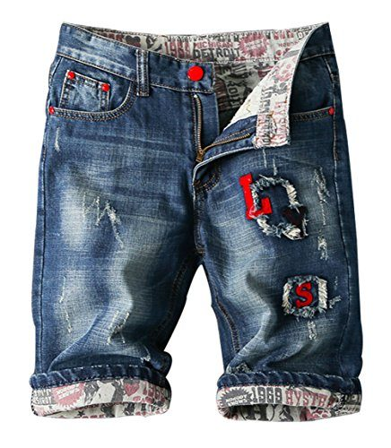 Mens Distressed Jeans Shorts Mid-waist High Quality