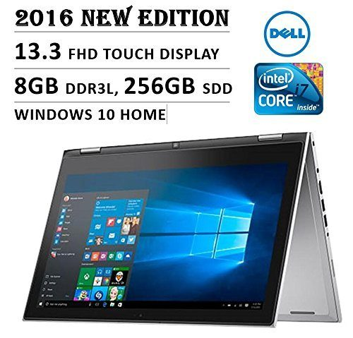 """Newest Dell Inspiron 13 i7359 CONVERTIBLE 2-IN-1 Laptop: Core i7-6500U, 256GB SSD, 8GB, 13.3"""" (1920x1080) FULL HD TOUCHSCREEN, Backlit Keyboard, Windows 10 (Certified Refurbished)"""