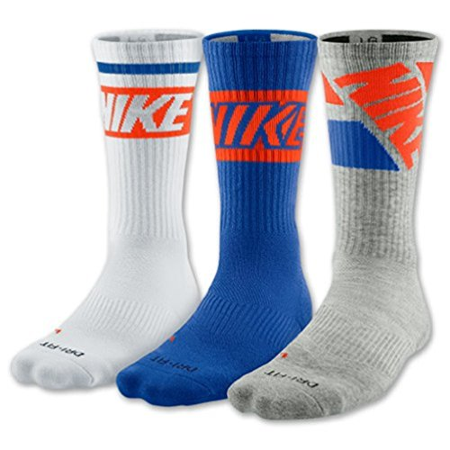 Nike Dri Fit Men's Cushioned Crew Socks (Large, Royal Blue/Grey/White)