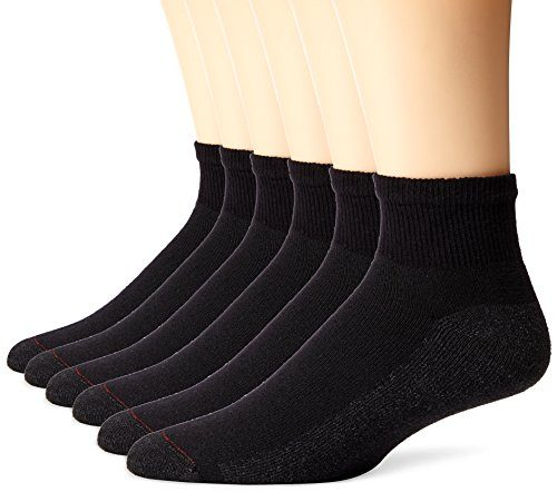 Hanes Men's 6 Pack Ankle Socks, (Size 6-12/Black)