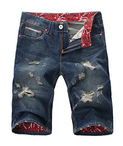 Juway Mens Twill Denim Casual Short(Blue,32)