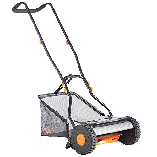 "VonHaus 15"" Reel Mower - Manual Hand Push Lawn Mower with 23L Detachable Grass Catcher Bag"