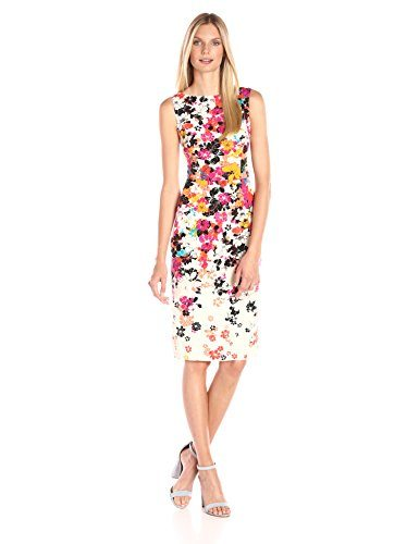 Maggy London Women's Scatter Placed Petal Sheath