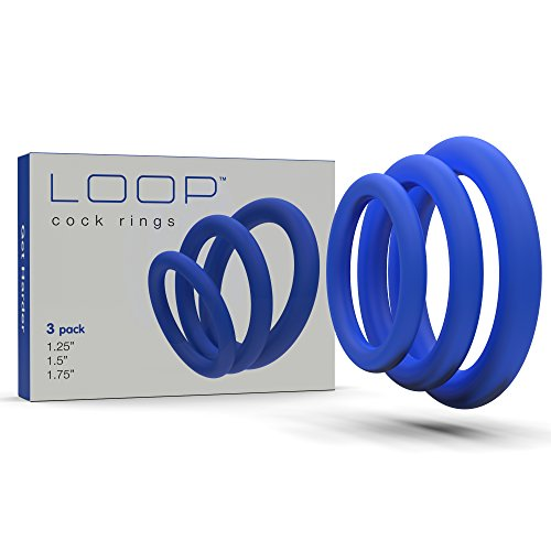 Lynk Pleasure Products Super Soft Erection Enhancing Blue Cock Ring 3 Pack - 100% Medical Grade Pure Silicone Penis Ring Set for Extra Stimulation for Him - Bigger, Harder, Longer Penis