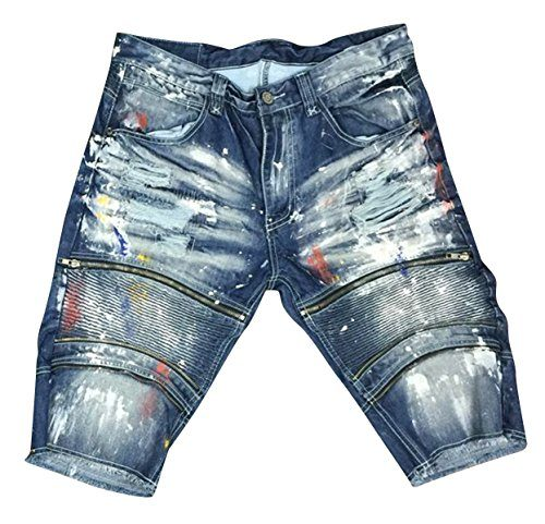 Smoke Rise Men's Raw Hem Rip & Repair Zipper Moto Denim Shorts