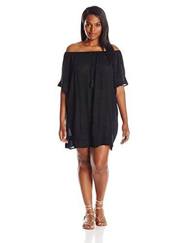 Flying Tomato Women's Plus-Size Off-Shoulder Lace Trim Dress