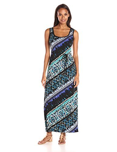 Connected Apparel Women's Jersey Maxi Bias Stripe with Belt