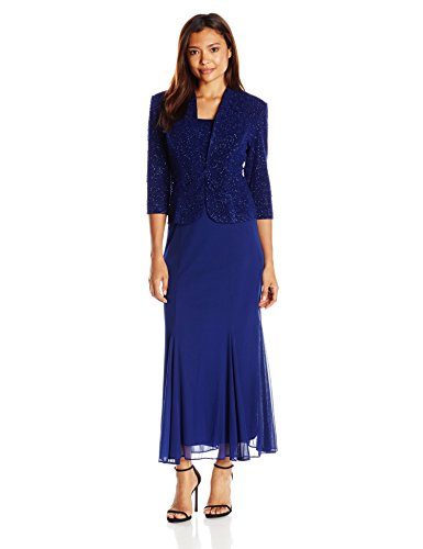 Alex Evenings Women's 3/4 Sleeve Long Jacket Dress