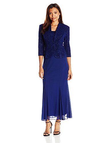 Alex Evenings Women's 3/4 Sleeve Long Jacket Dress