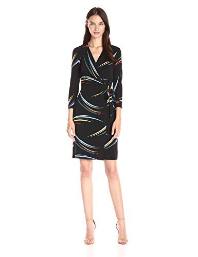 Anne Klein Women's 3/4 Sleeve Multi Line Printed Ity Wrap Dress