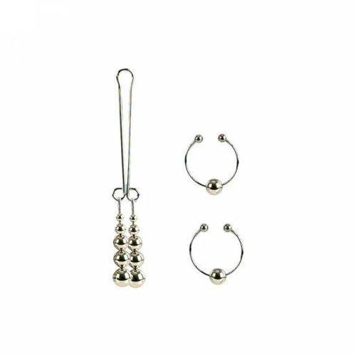 California Exotics Nipple and Clitoral Non-Piercing Body Jewelry, Silver