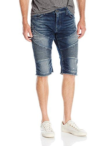 True Religion Men's Geno Moto Short Concrete Lake