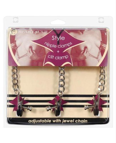 Spartacus Y-style Broad Tip Nipple Clamps And Clit Clamp