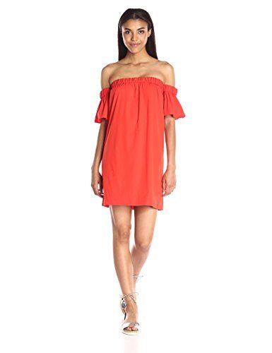 Milly Women's Cotton Stretch Poplin Off The Shoulder Flutter Dress