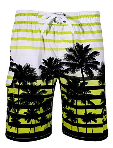 APTRO Men's Swim Trunks Coconut Tree Printing Beach Short