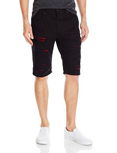 Southpole Men's Short Twill Short Ripped and Repaired