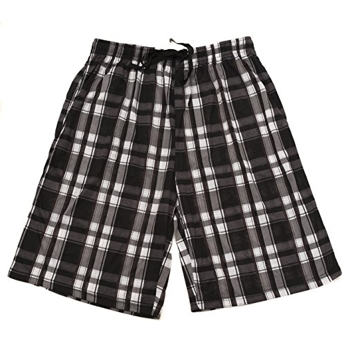 Men's Plaid Printed Knit Lounge Short with Side Pockets