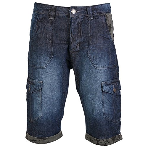 Identic Men's Denim Jean Cargo Shorts
