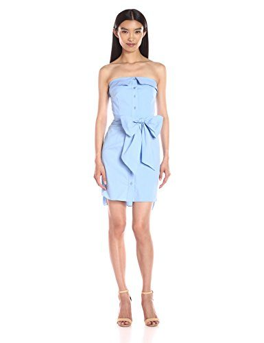 Milly Women's Cotton Stretch Poplin Strapless Tie Shirtdress