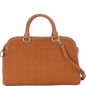Cole Haan Leesa Weave Double Zip Satchel Convertible Shoulder Bag
