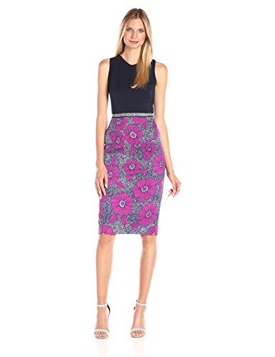 Maggy London Women's Texture Woodcut Scuba Two-Fer Sheath