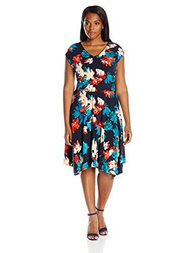 Ellen Tracy Women's Plus-Size Handkerchief Hem Knit Midi Dress