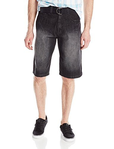 Southpole Men's Belted Basic Denim Shorts In Cross Hatch Fabric
