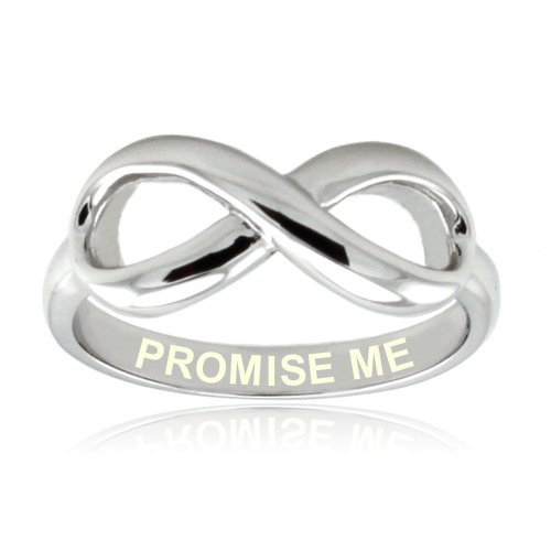 Sterling Silver Promise Me Engraved Infinity Ring