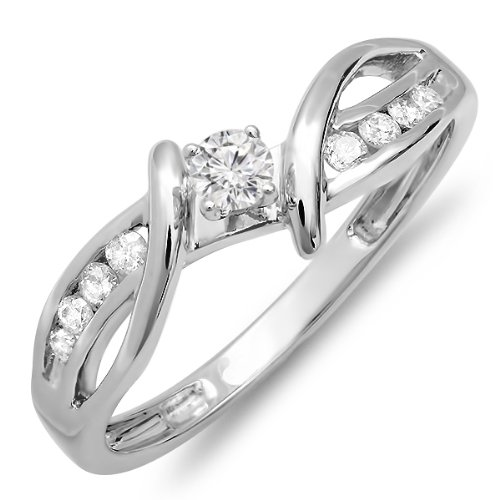 0.25 Carat (ctw) 14k Gold Diamond Crossover Split Shank Ladies Bridal Promise Engagement Ring 1/4 CT