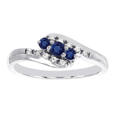 10k White Gold Three Stone Sapphire and .05ct Diamond Promise Ring (I-J I1-I2)