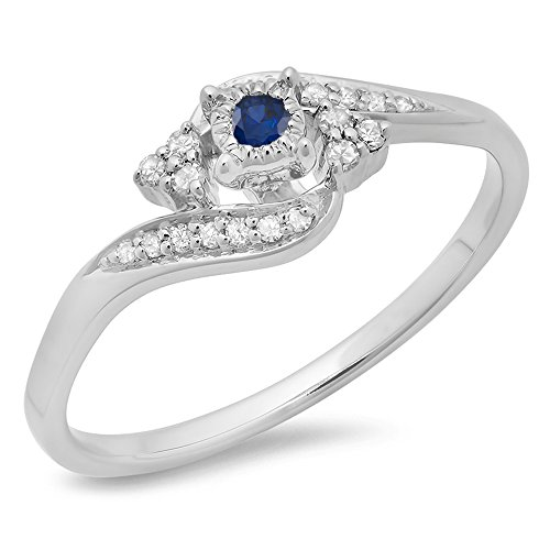 10K Gold Round Blue Sapphire & White Diamond Ladies Twisted Swirl Promise Engagement Ring