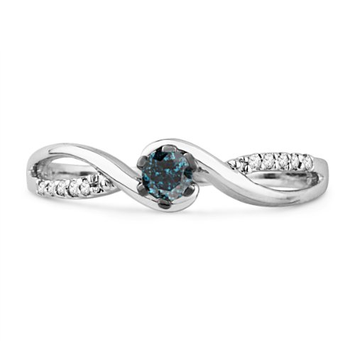 Sterling Silver Blue And White Round Diamond Twisted Promise Ring (1/6 cttw)