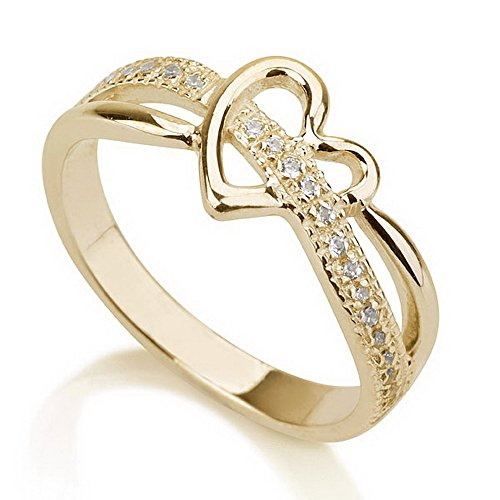 Gold Plated Heart Ring, Love Ring Heart, Promise Ring 925 Sterling Silver Plated in 18k Gold -Available sizes 5,5.5,6,6.5,7,7.5,8,8.5,9