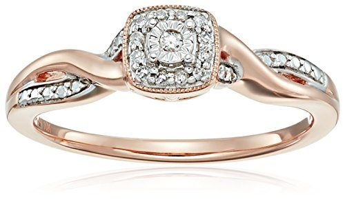 10k Pink Gold Diamond-Accented Cushion Shaped Promise Ring, Size 7