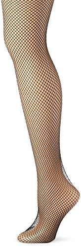 Leg Avenue Women's Fishnet Thigh High Stockings with Back Seam and Silicone Lace Top